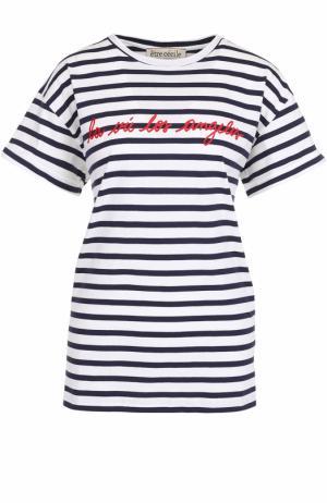 Хлопковая футболка в контрастную полоску Etre Cecile. Цвет: разноцветный