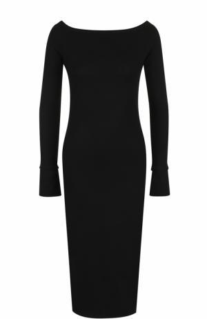 Шерстяное платье с длинным рукавом и вырезом-лодочка Helmut Lang. Цвет: черный