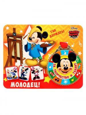 Медаль на открытке, Микки Маус Disney. Цвет: черный, светло-оранжевый