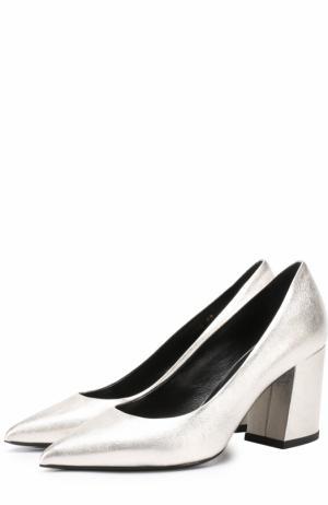 Туфли из металлизированной кожи на устойчивом каблуке Baldan. Цвет: серебряный