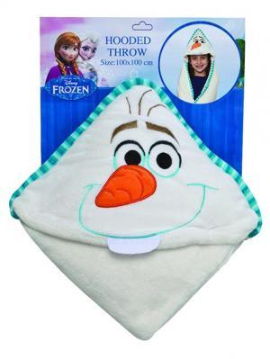 Плед с капюшоном Frozen (Холодное сердце) - Olaf, размер 100х100 см Disney. Цвет: голубой, белый, оранжевый
