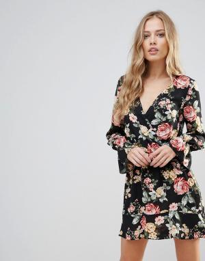 Oh My Love Платье с длинными рукавами и цветочным принтом. Цвет: мульти