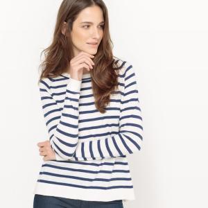 Пуловер в полоску морском стиле из хлопка и шелка La Redoute Collections. Цвет: вишневая полоска,темно-синий в полоску