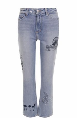 Укороченные джинсы прямого кроя с принтом Paige. Цвет: голубой