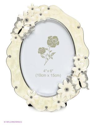 Фоторамка овальная ,металлическая со стразами, украшенная цветами формата 10х15см PLATINUM quality. Цвет: белый, серебристый