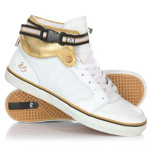 Кеды кроссовки высокие  Hi-lo White/Gold Es. Цвет: белый,желтый