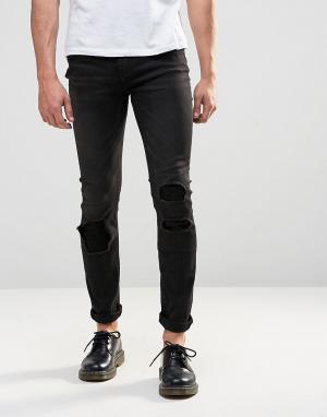 Cheap Monday Черные облегающие джинсы скинни с заплатками. Цвет: черный