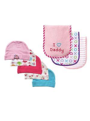 Комплект Шапочки, 5 шт.+ Салфетки для кормления, 3 шт. Luvable Friends. Цвет: голубой, розовый
