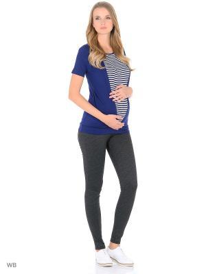 Блузка для беременных и кормящих 40 недель. Цвет: синий, белый