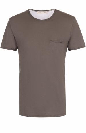 Хлопковая футболка с нагрудным карманом Daniele Fiesoli. Цвет: хаки