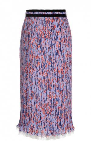 Плиссированная юбка-миди с контрастной оборкой Carven. Цвет: лиловый