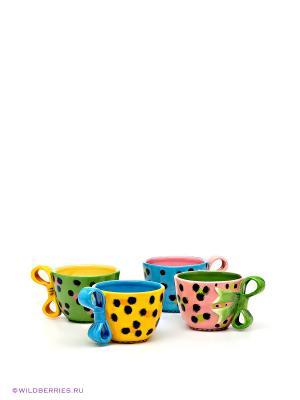 Набор чайных чашек Pavone. Цвет: зеленый (осн.), голубой (осн.), оранжевый (осн.)