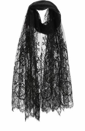 Кружевная шаль Valentino. Цвет: черный
