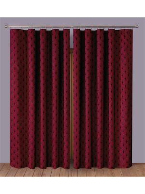 Комплект штор P Primavera Firany. Цвет: бордовый