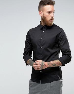 Hoxton Shirt Company Строгая рубашка узкого кроя из эластичного поплина Compan. Цвет: черный