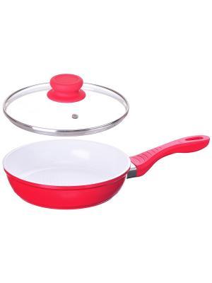 Сковорода с керамическим покрытием (газ/электро/индукция), D 20 см FRANK MOLLER. Цвет: красный