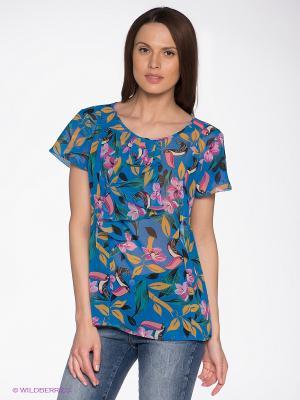 Блузка KEY FASHION. Цвет: синий, бирюзовый, розовый