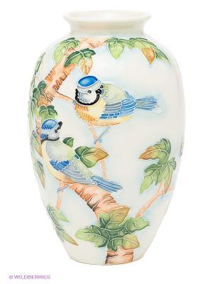 Ваза Синяя птица Pavone. Цвет: зеленый, светло-коричневый