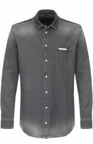 Джинсовая рубашка с потертостями Philipp Plein. Цвет: серый
