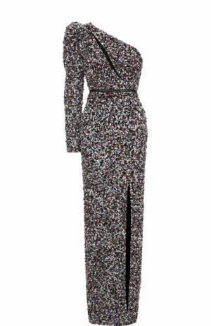 Платье-макси с высоким разрезом и пайетками Elie Saab. Цвет: разноцветный