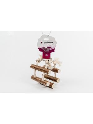 Игрушка для грызунов Канатная лесенка х-б c орешником 35 Zoobaloo. Цвет: коричневый