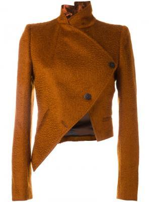 Асимметричный укороченный пиджак Ann Demeulemeester. Цвет: жёлтый и оранжевый