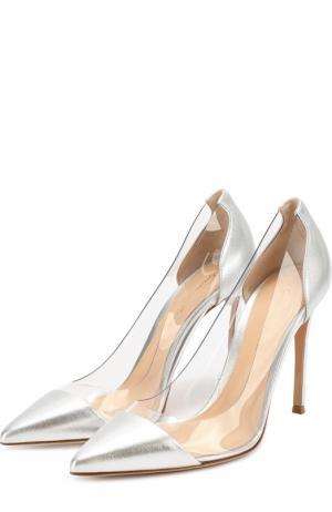 Туфли Plexi из металлизированной кожи на шпильке Gianvito Rossi. Цвет: серебряный