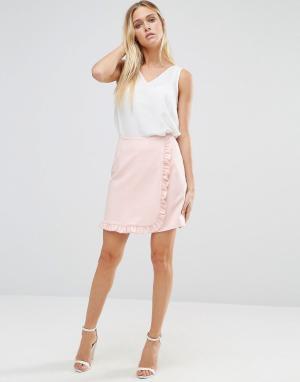 Alter Мини-юбка с оборкой по краю. Цвет: розовый