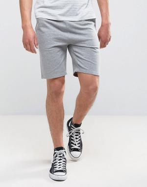 ASOS Серые меланжевые трикотажные шорты зауженного кроя. Цвет: серый