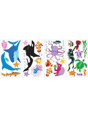 Наклейки для декора Жители океана ROOMMATES. Цвет: голубой, белый, красный, оранжевый, желтый, черный, синий, зеленый, серый