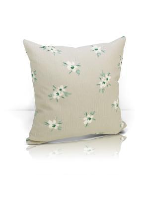 Декоративная подушка Tina Kauffort. Цвет: зеленый, кремовый, светло-серый