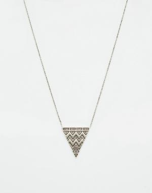 House of Harlow Ожерелье с гравированным треугольником и паве. Цвет: серебряный