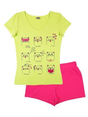 Комплект женский (футболка, шорты) Family Colors. Цвет: салатовый