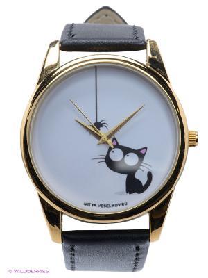 Часы Кошка и паучок Mitya Veselkov. Цвет: черный, золотистый, белый