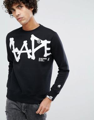 AAPE BY A BATHING APE Черный свитшот с большим логотипом. Цвет: черный