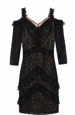 Кружевное облегающее платье с открытыми плечами Tadashi Shoji. Цвет: черный