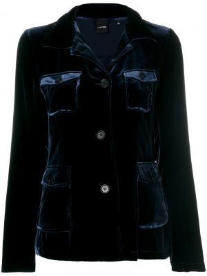 Бархатный пиджак карго Aspesi. Цвет: синий