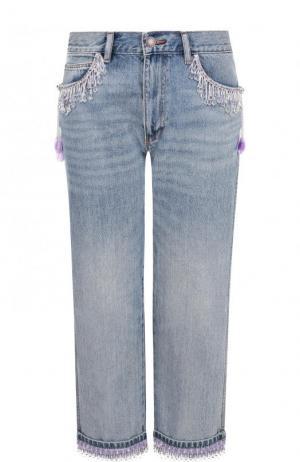 Укороченные джинсы прямого кроя с декоративной отделкой Marc Jacobs. Цвет: голубой