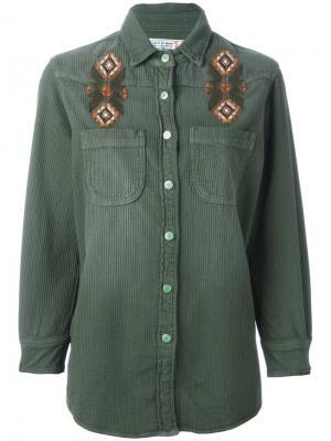 Рубашка с вышивкой Sandrine Rose. Цвет: зелёный