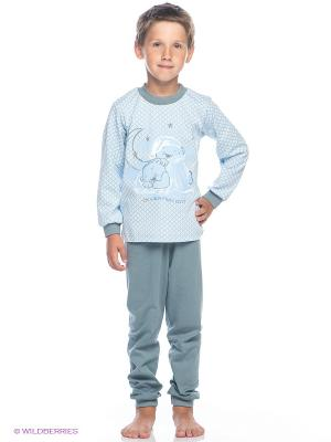 Пижама Лео. Цвет: голубой, белый, серо-зеленый
