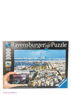 Паззл Крыши Парижа с видео-анимацией 1000 шт Ravensburger. Цвет: синий, черный