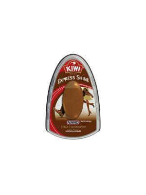 Экспресс губка с дозатором  для обуви коричневая 7 мл KIWI. Цвет: коричневый