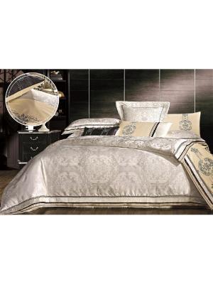 Комплект постельного белья ,евро  4нав.,сатин-жаккард Jardin. Цвет: кремовый