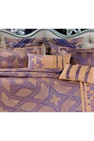 Постельное белье Евро - 4 нав. ТекСтильный Каприз. Цвет: фиолетовый, бежевый