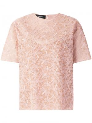 Блузка со стрекозами Rochas. Цвет: розовый и фиолетовый