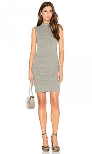 Мини платье в рубчик с ложным воротником Enza Costa. Цвет: серый