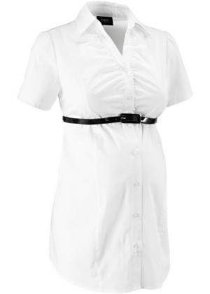 Бизнес-мода для беременных: блузка-стретч + ремень (2 изд.) (белый) bonprix. Цвет: белый