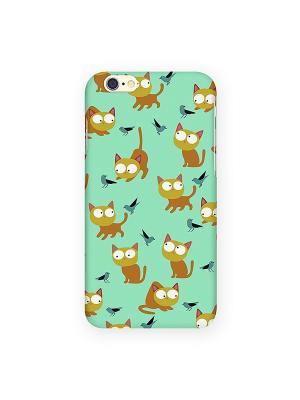 Чехол для IPhone 6 Рыжие кошки на мятном Mitya Veselkov. Цвет: зеленый, белый