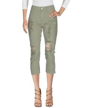 Джинсовые брюки-капри UFFICIO 87. Цвет: светло-зеленый