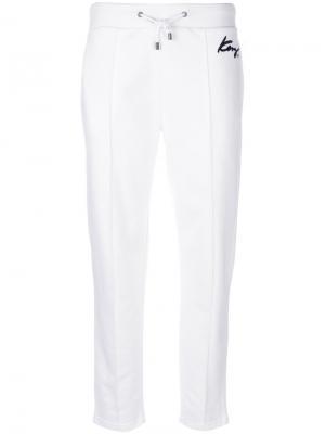 Спортивные брюки с логотипом Kenzo. Цвет: белый